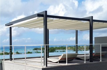 retractable free standing patio deck cover system
